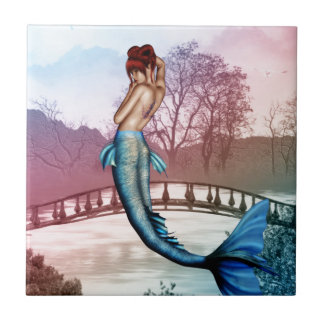 Sirena oriental azulejo cuadrado pequeño
