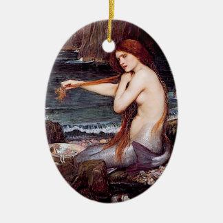 Sirena - ornamento adorno ovalado de cerámica