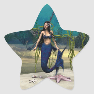 Sirena Pegatina En Forma De Estrella
