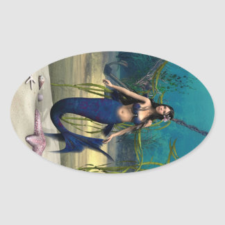 Sirena Pegatina Ovalada