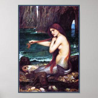 Sirena por el Waterhouse de Juan Póster