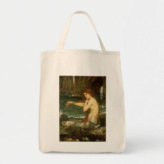 Sirena por el Waterhouse de JW, arte de la Bolsa Tela Para La Compra