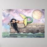 Sirena preciosa en la impresión del poster del emb