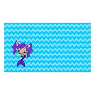 Sirena púrpura linda tarjeta de visita