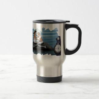 Sirena que dibuja una sirena taza de viaje de acero inoxidable