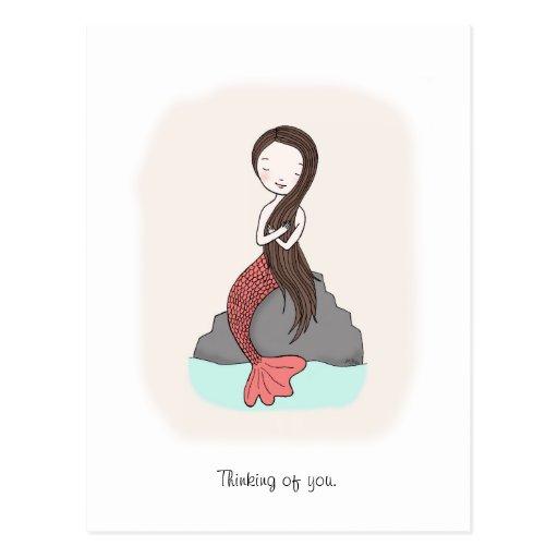 Sirena que piensa en usted postal de la playa de l