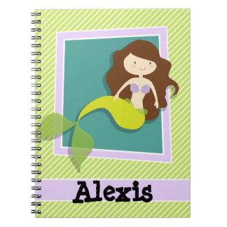 Sirena; Rayas de la verde lima y del blanco Spiral Notebooks