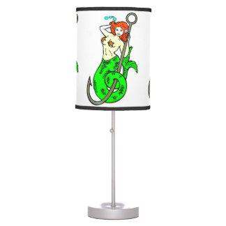 sirena redheaded de la verde-cola lámpara de escritorio