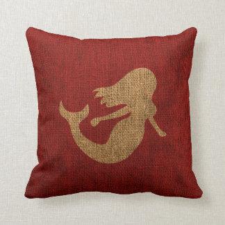 Sirena - rojo rústico almohada