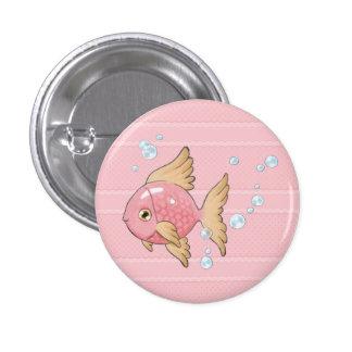 Sirena (rosa, pescados) pin redondo 2,5 cm
