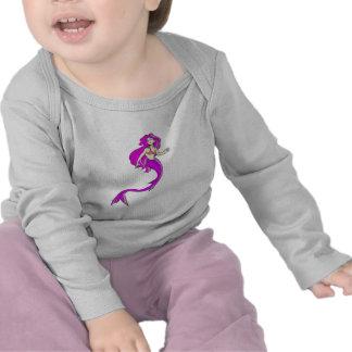 sirena rosada del estilo del animado camisetas