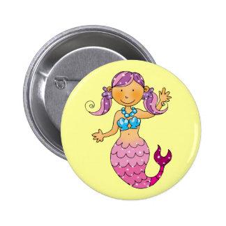 Sirena rosada linda pin redondo 5 cm