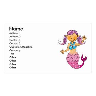 Sirena rosada linda tarjetas de visita