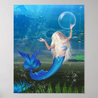 Sirena rubia bonita con la burbuja posters