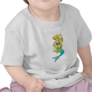 sirena rubia bonita camisetas