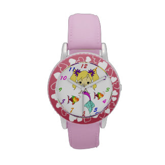 Sirena rubia linda relojes de mano