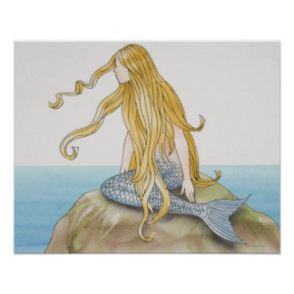 Sirena rubia que se sienta en la roca del mar, vis póster