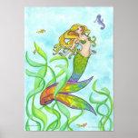 Sirena soleada + Poster del arte de la fantasía de