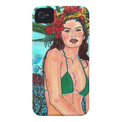 Sirena tropical de la cubierta del iPhone 4 de B iPhone 4 Case-Mate Coberturas