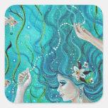 Sirena tropical del maya de Renee Lavoie Pegatina Cuadrada