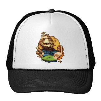 Sirena y barco pirata gorros bordados
