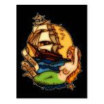 Sirena y barco pirata postales