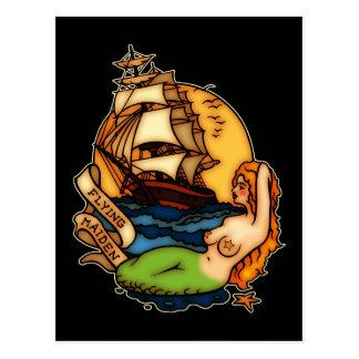 Sirena y barco pirata tarjetas postales