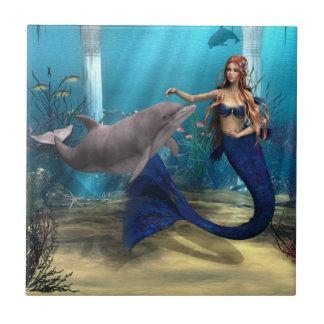 Sirena y delfín azulejo cuadrado pequeño