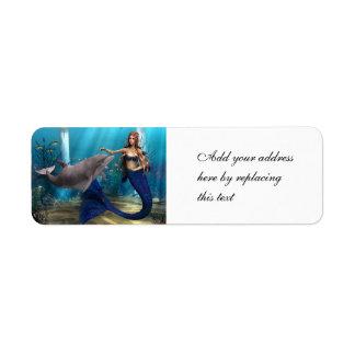 Sirena y delfín etiqueta de remite