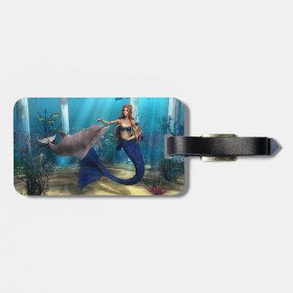 Sirena y delfín etiqueta de maleta