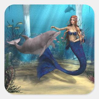 Sirena y delfín pegatina cuadrada