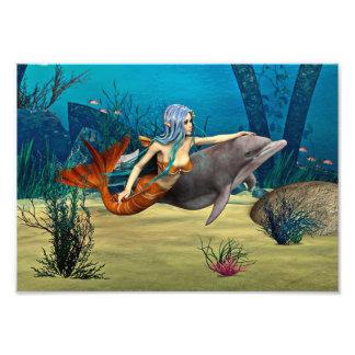 Sirena y delfín impresion fotografica