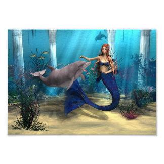 Sirena y delfín arte fotográfico