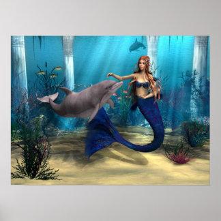 Sirena y delfín póster