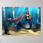 Sirena y delfín posters