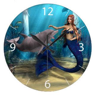 Sirena y delfín reloj redondo grande