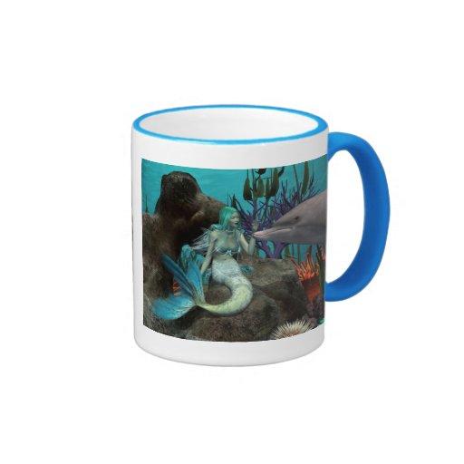 Sirena y delfín taza a dos colores