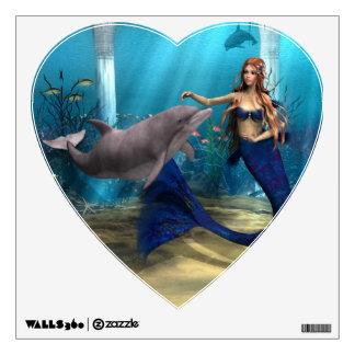Sirena y delfín vinilo adhesivo