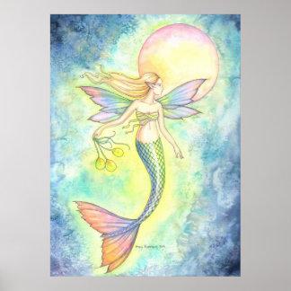 Sirena y el arte de la fantasía de la burbuja de l póster