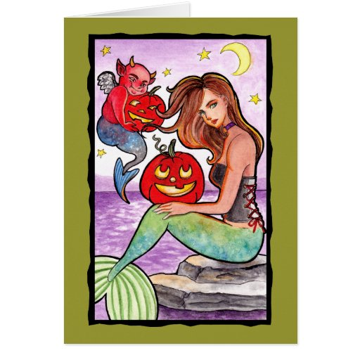 Sirena y el diablo tarjeta de felicitación