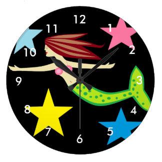 Sirena y estrellas reloj