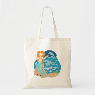 Sirena y fiesta de cumpleaños de los delfínes bolsa tela barata