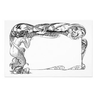 Sirena y gaviotas personalized stationery