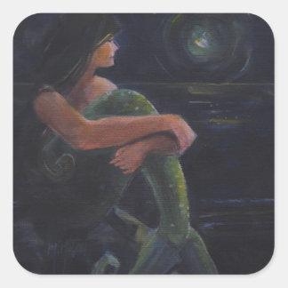 Sirena y la luna pegatina cuadrada