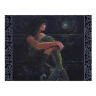 Sirena y la luna tarjetas postales