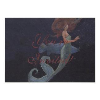 """Sirena y los pescados azules invitación 4.5"""" x 6.25"""""""