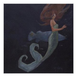 Sirena y los pescados azules perfect poster