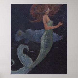 Sirena y los pescados azules póster