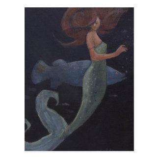 Sirena y los pescados azules postales