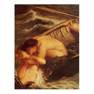 Sirena y marinero en el mar tarjetas postales